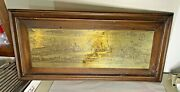 Vintage Engraved Brass Wall Hanging Plaque In Wood Frame Florenza Italy