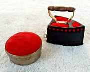 Lot Of 2 Antique Mid Century Pin Cushions Sad Iron W/ Tape Measure And 2.5 Round