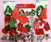 Lot Of 29 New Wilton + Vintage Metal And Plastic Chrismas Cookie Cutters