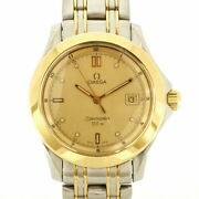 Previously Owned Omega Ss Wristwatch 120m Seamaster Silver Gold Mens No.6595