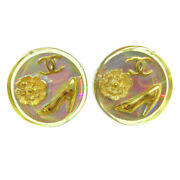 Cc Logos Icon Button Motif Earrings Clear Clip-on 97p Accessories 71214