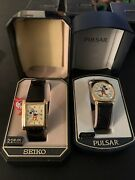 2 Vintage Rare Disney Mickey Mouse Seiko And Pulsar Quartz Watch 1 New Other Guc