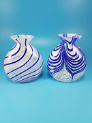 Set Of 2 Vintage Art Glass Perfume Bottles Without Stoppers Blue White Swirl