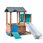 New Step2 Woodland Playhouse And Slide Outdoor Children Wood Plastic Climber