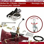 C4 Shifter Kit 8andampquot E Brake Cable Clamp Clevis Trim Kit Dipstick For C98a