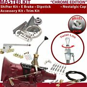 C4 Shifter Kit 8andampquot E Brake Cable Clamp Clevis Trim Kit Dipstick For F7a0