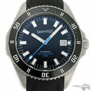Eberhard Scafograf 300 41034.2 Automatic Black Dial Stainless Leather Men's