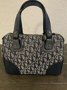 Christian Dior Trotter Hand Bag Purse Navy Canvas Leather Corners