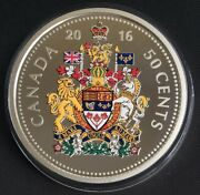 Canada 2016 Big Coins Series Color 50 Cents 5 Oz Pure Silver Proof