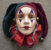 Dyan Nelson Clay Ceramic Art Decorative Jester Face Wall Mask Limited Edition