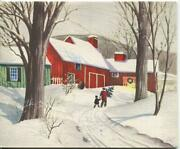 Vintage Christmas Tree Red Barn Farm House Card And 1 Ocean Kitchen Cook Postcard
