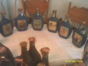 Lot Of 19 Vintage Jim Beam Decanters And 16 Glasses Coated Various Themes