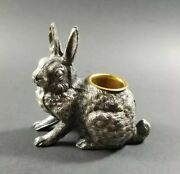 Silver Plated Rabbit Match Toothpick Holder Figural Victorian Pot Metal Bunny