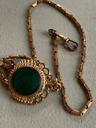 Vintage Gf Sp Stamp Watch Chain Fob Gold Fill 2side Green Guilloche Stripe Agate