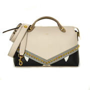 Pre-owned Fendi 8bl124 By The Way Bugs Handbag Beige Black Gray Leather F/s