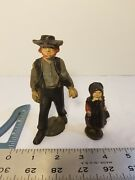 Vintage Amish Quaker Farmer Man And Daughter Cast Iron Figures