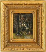 Figures In A Forest Antique Oil Painting By Georg Schneider German 1759andndash1843