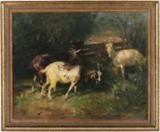 Goats Grazing Antique Oil Painting By Georg Wolf German 1882andndash1962