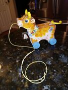 Vintage 1960and039s Fisher-price Toys 656 Bossy Bell Cow Pull Toy