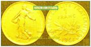 France 1961 Francaise 24k Gold Plated 1 Franc French Liberty Sealed Coin Unc