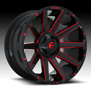 Set Of 4 Fuel D643 Contra Black Milled Red 24x12 5x5 / 5x5.5 -44mm