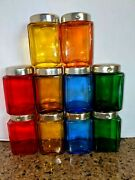 Vintage 60and039s Colored Glass Jars Made In Japan Lot Spice Jars 3 Tall Lot Of 10