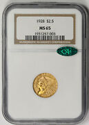 1928 Indian Head Quarter Eagle Gold 2.5 Ms 65 Ngc Cac Approved
