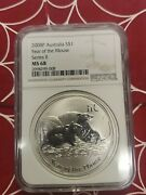 2008 Australian Lunar Year Of The Mouse Rat 1 Oz. Silver Coin Ngc Ms68