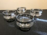 Set Of Four Vintage Silver Band Glass Champagne Glasses 3