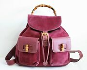 Auth Bamboo Purple Suede Large Backpacktwo Pocketshand Bagvintage