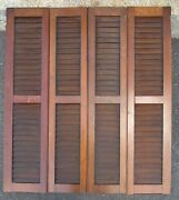 Antique Solid Walnut Interior Window Shutters W/ Louvers 37 3/4x 42 1/2 High A