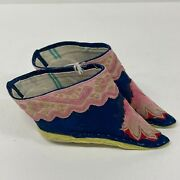 Chinese Hand Made Embroidered Shoes Bound Feet Lotus Pair Antique Pink