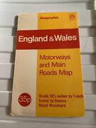 England And Wales Motorways And Main Roads Map Vintage Maps