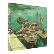 Van Gogh Quay With Men Unloading Sand Barges Ready To Hang Print Canvas Giclee