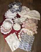 Beautiful Vintage Mixed Lot Antique Lace Crocheted Runners Tablecloths Doilies