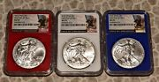 2016 Silver Eagle Red White Blue Set Ms-70 Ngc American Eagle First Day