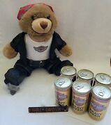 Harley Davidson 100th Anni. Biker Bear Plush 6 Pack Empty Beer Cans Pin Magnet