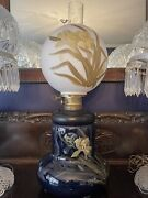 Large Weller Art Pottery Footed Conversion Lamp Hand Painted
