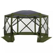 Large Instant-up Portable Pack-n-go Gazebo With Screen Zip Entry Camping Rv