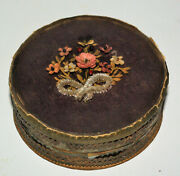 Antique Box In Fly Cardboard Paper Glass Curved Flowers Fabric Xviiiandegraveme