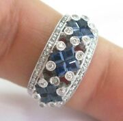 Princess Cut Sapphire And Round Diamond White Gold Wide Band 14kt 2.08ct G/h Vs