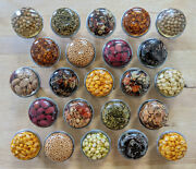 1960and039s Resin Cabinet/bin/drawer Pulls With Herbs Spices Grains And Seeds Vintage
