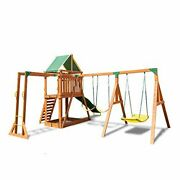 Outdoor Olympia Wood Swing Set With 3 Swings Slide And Monkey Bars Natural