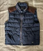 Prada Men Down Vest Blue Brown Leather Pads Triangle Logo Plate Size 54 4500