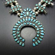 Old Zuni Sterling Silver Turquoise Snake Eye Petit Point Squash Blossom Necklace