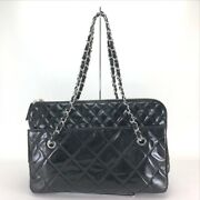 Matelasse Chain Shoulder Bag Tote Patent Leather Women And039s Black No.7060