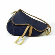 Authentic Christian Dior Saddlebags Blue Womenand039s Shoulder No.7832