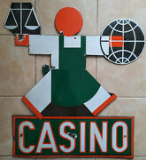 Antique Plate Enamelled Casino D' After Cassandra Emaillo Engraving E.a.s