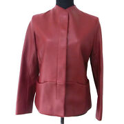 Authentic Hermes Long Sleeve Jacket Lamb Leather Brown 36 France Y02227j