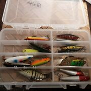 Mixed Lot Of 19 Fishing Lures Used Tackle Box
